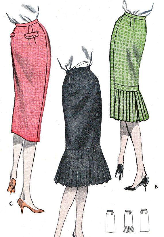 1950s flounce skirt pattern | 1950s Skirt Pattern Butterick 8792 Rockabilly Sheath Skirt With or ...