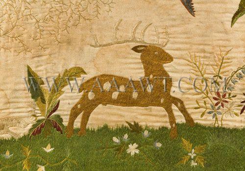 Folk Art Overmantel Deer, Silk Embroidered, Circa 1830