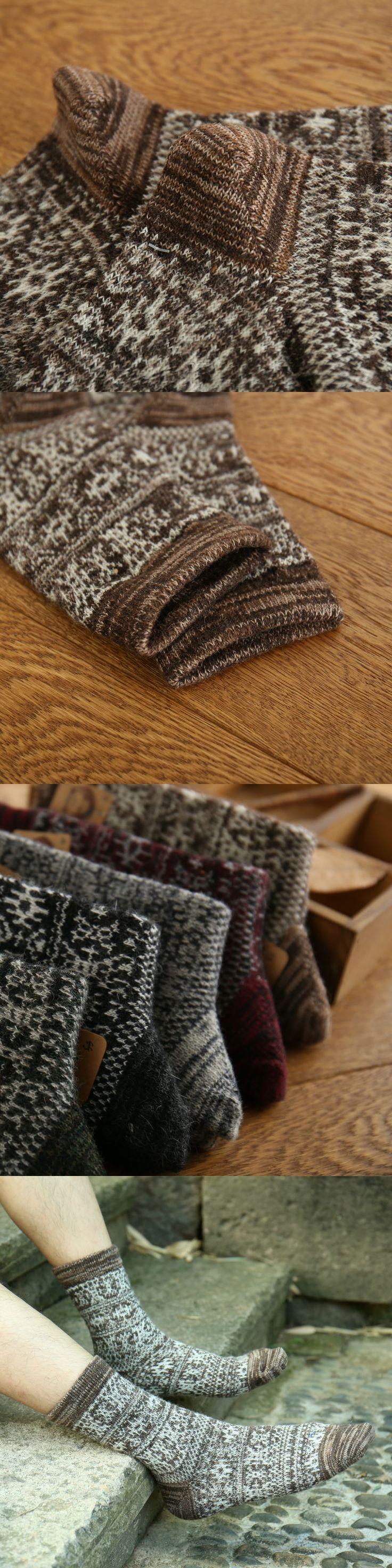 Men Wool Socks Autumn Winter Long Thick Warm Fashion Calcetines Hombre Comfortable Black Wine Socks For Men