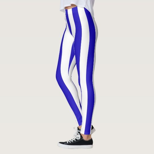 Marine stripes pattern, thick stripes blue & white leggings