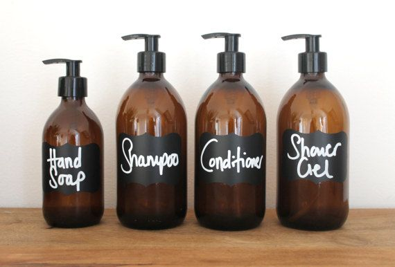 Amber Brown Glass Bottles Bathroom Essentials Set