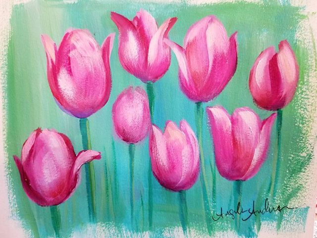Easy Tulips Acrylic Painting Tutorial By Angela Anderson On Youtube Tulips Floral Acrylicpainting Tulips Art Flower Artwork Tulip Painting