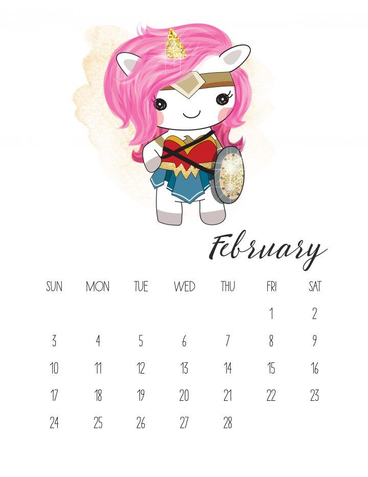 Market Calendar February 2019 Free Printable 2019 Pop Culture Unicorn Calendar | February 2019