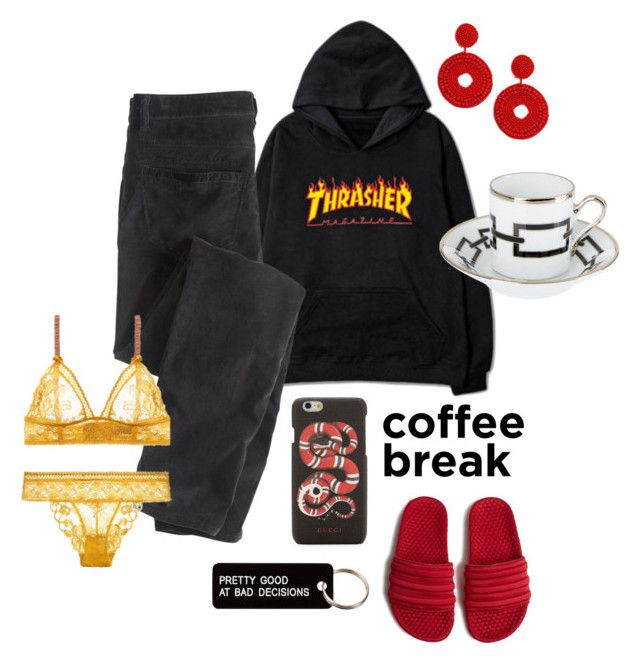 Anywhere but Starbucks by angelamarkovich on Polyvore featuring polyvore, fashion, style, Wrap, adidas, Kenneth Jay Lane, Gucci, Various Projects, Richard Ginori and clothing