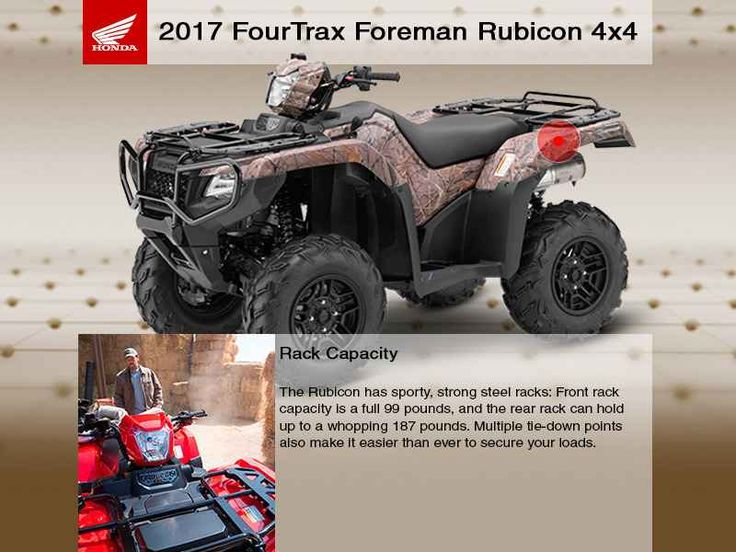 New 2017 Honda FourTrax Foreman Rubicon 4x4 Automatic D ATVs For Sale in Washington. 2017 Honda FourTrax Foreman Rubicon 4x4 Automatic DCT, *NOVEMBER SPECIAL* For the month of November when you purchase any Honda ATV or Side by Side, enjoy a Hotel stay and Dinner for 2 on us, at the ANGEL OF THE WINDS Casino-Hotel-Brewery. TRX500FA5H This offer limited to stock numbers shown. VIN number available upon request. Prices subject to change and exclude dealer set up, taxes, title, freight and…