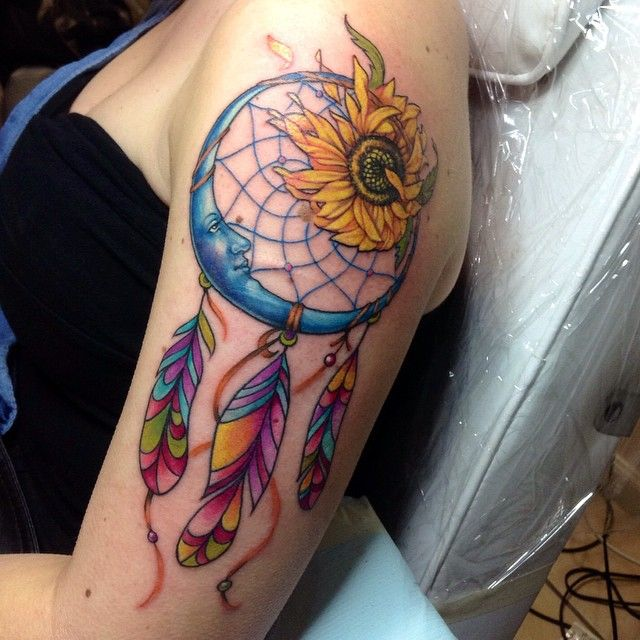 Beautiful Dreamcatcher Tattoo With Sunflower And Moon