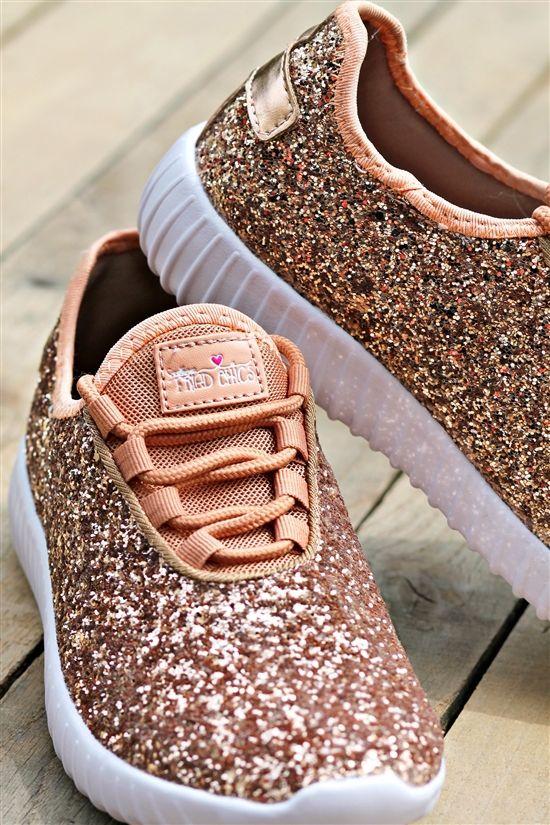 Glitter Tennis Shoes Rose Gold