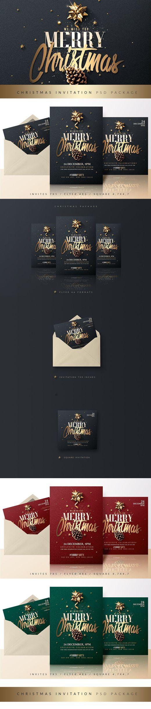 Christmas Invitation Psd Package v3 - #classy #christmas #bundle #invitation #art #style #graphics #creative #flyer #shopping #typography #creativemarket
