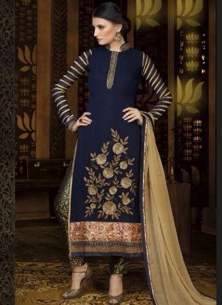 Blooming Royal Blue Georgette Zari Work Churidar Suit#churidars#salwar#kameez  http://www.angelnx.com/Salwar-Kameez/Churidar-Suits