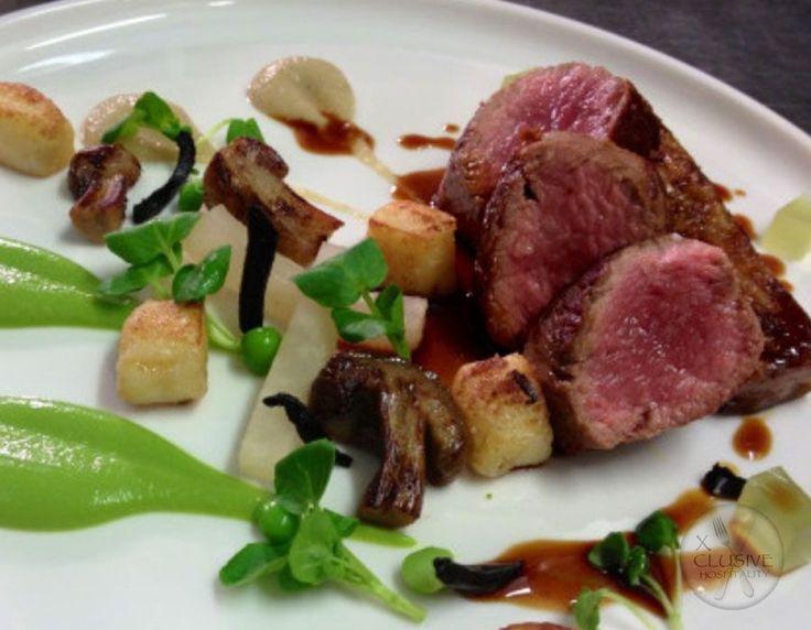 Cornish Lamb Rump, Pea Purée, Porcini Mushroom #catering #events #leicestershirefood #xclusive