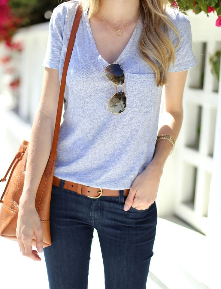 Capsule wardrobe inspiration: the perfect combo (dark jeans, classic grey tee, tan leather!)