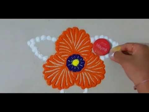 How to make quick and small rangoli design | easy rangoli by Yogita Garud - YouTube