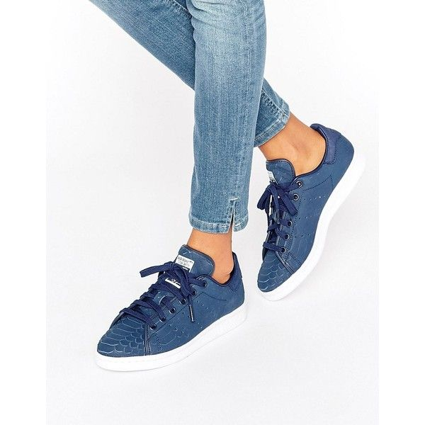 adidas Originals Navy Embossed Snake Suede Stan Smith Unisex Sneakers ($120) ❤ liked on Polyvore featuring shoes, sneakers, navy, lacing sneakers, adidas shoes, adidas trainers, adidas sneakers and navy blue suede shoes