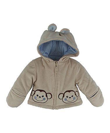 Oatmeal Monkey Zip-Up Jacket - Infant by Wippette #zulily #zulilyfinds