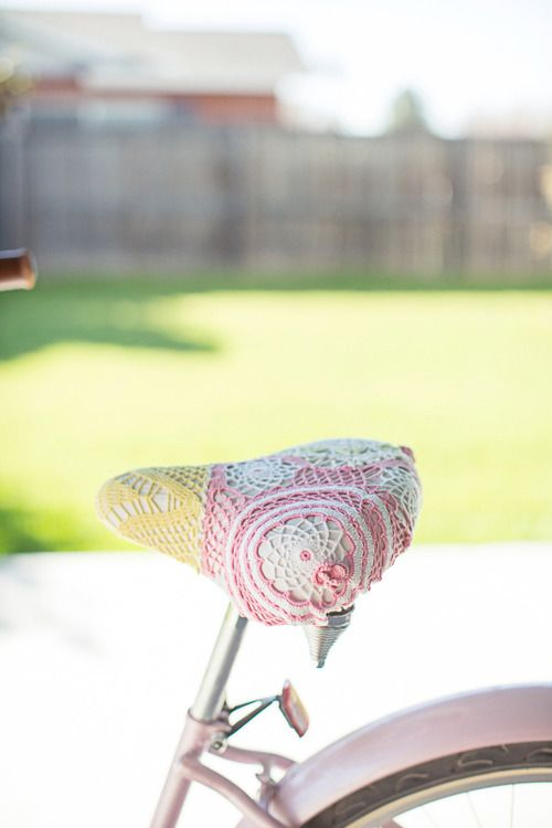 Pastel Crochet Doily Bike Seat by DianaElizabethBlog l #crafts