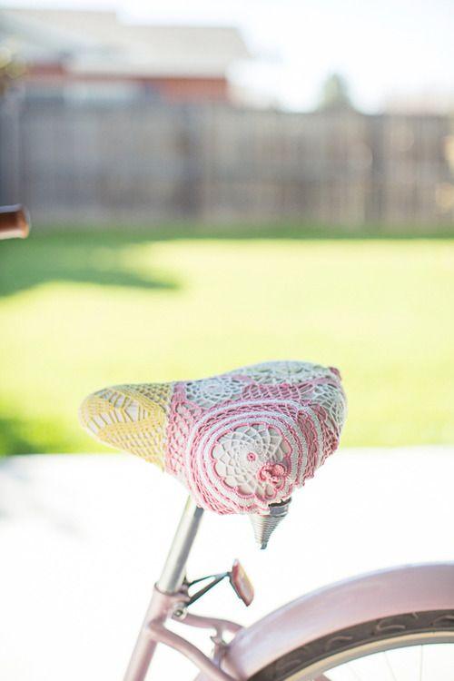 Pastel Crochet Doily Bike Seat by DianaElizabethBlog l #crafts