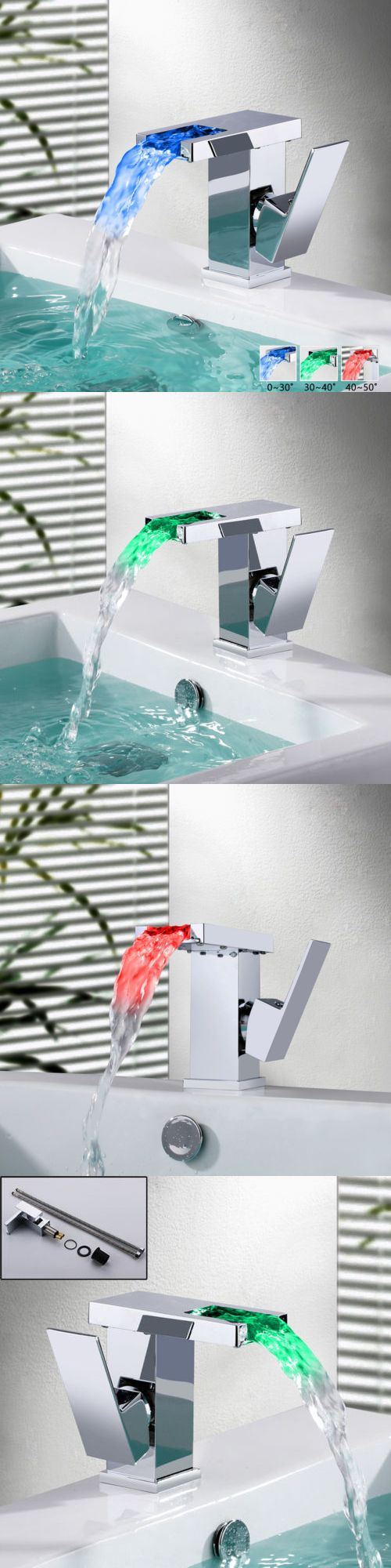 Bathroom sink faucet one hole double handle basin mixer tap ebay - Faucets 42024 Led Rgb Waterfall Basin Sink Faucet Chrome One Handle Bathroom Mixer Tap Modern