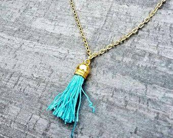 borla de color turquesa collar de chica dormitorio, accesorios de vestido de fiesta de verano, borla collar de boho, desgaste festival, joyas brillantes, capas