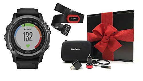 Garmin Fenix 3 HR Sapphire Edition Performer Bundled with  MultiSport GPS Fitness Watch Heart Rate Monitor Chest Strap USB Car and  Wall Charging AdapterHard Carrying Case and Black Gift Box ** Visit the image link more details.