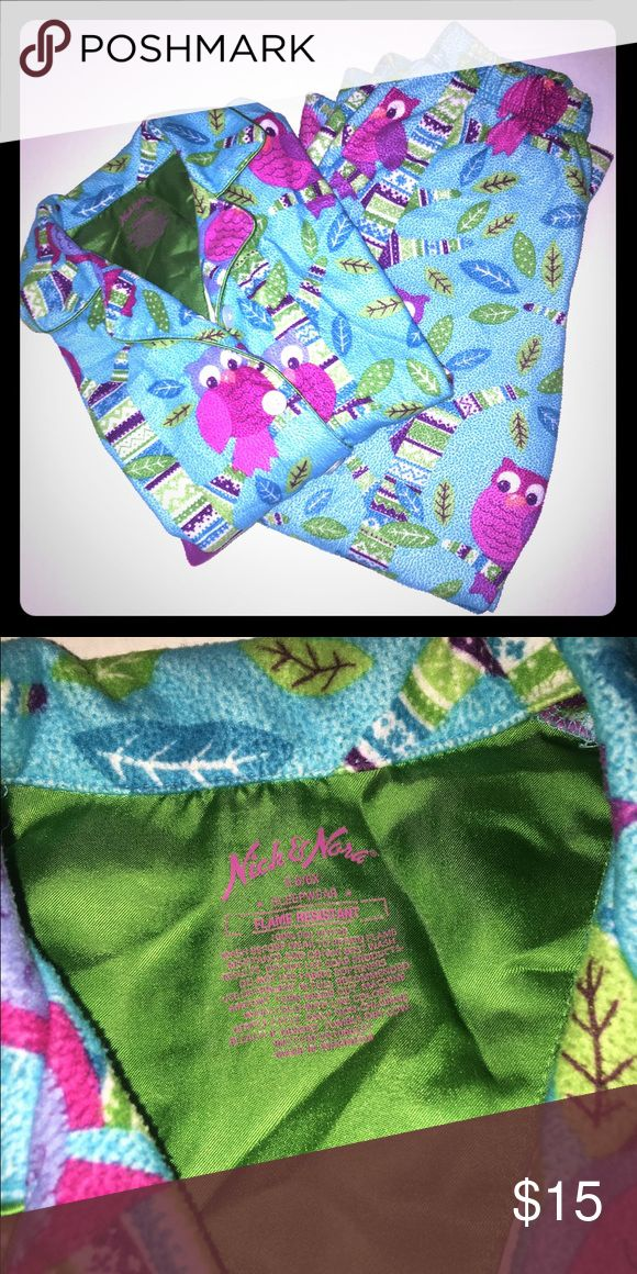 🌟Nick and Nora Pajamas🌟 Owl print Nick and Nora pajama set. In great condition! Super comfy for the fall and winter months! I'm a speedy shipper and we have a smoke free home! Pajamas Pajama Sets