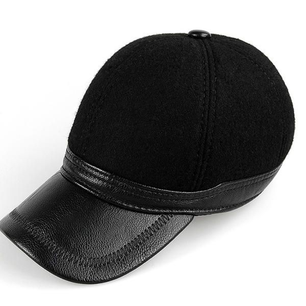 Men Winter Warm PU Woolen Baseball Cap With Ears Flaps Outdoor Snapback Hats Adjustable at Banggood