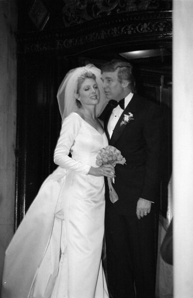 Donald Trump and Marla Maples wedding | Not a fan of Donald Trump's or long sleeve wedding dresses, but love the Carolina Herrera that Marla Maple wore on her wedding day. To me, it looks very Grace Kelly   - simple and elegant!