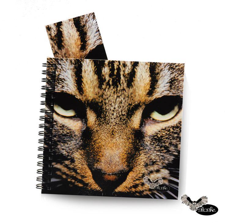Dla miłośników zwierząt kwadratowy notatnik ze zdjęciem twarzy kota, 80 kartek