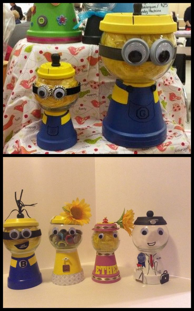 Crafts with clay pots - 3 Candy Jars Minion And Doctor Minion Craftclay Pot