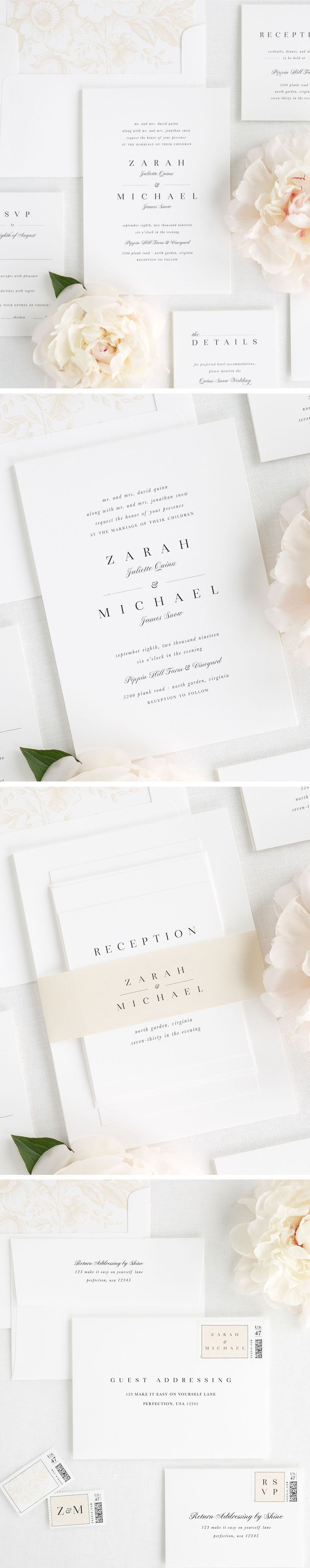 We are all about details! This beautiful suite checks off all the requirements of a classic and timeless design. We love the large sophisticated first names paired with a romantic script for middle and last names - you get the best of both worlds! Shop this look here!