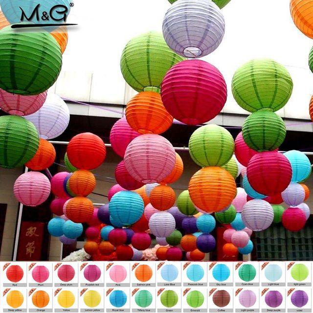 Linterna de papel china de 10-50 cm. accesorio para festivales, cumpleaños, bodas, decoración, regalos, linterna artesanal, hágala usted mismo