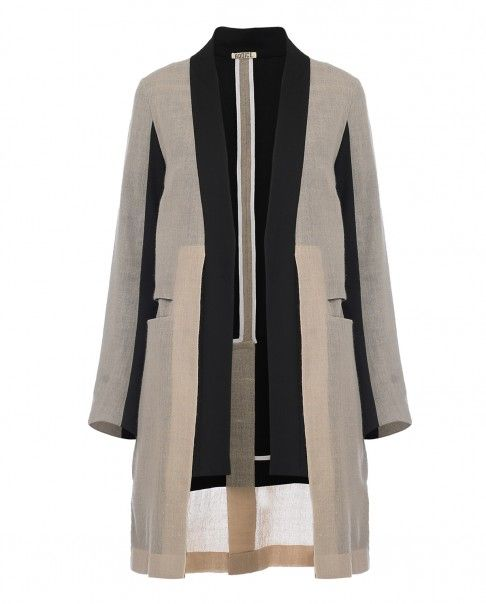 Beige and Black Double Layer Jacket