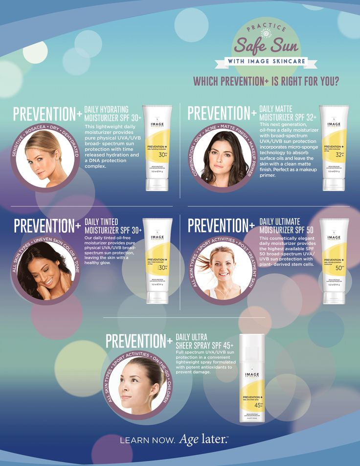 Which Prevention+ is right for you? Image Skincare offers moisturizers with sun protection for every skin type. Available at Snowdrop Esthetics, LLC (Streets at SouthGlenn - Sola Salon Studio #22 - Centennial, Colorado) #ImageSkincare #SolaSalon #SouthGlenn #suncare #snowdropesthetics