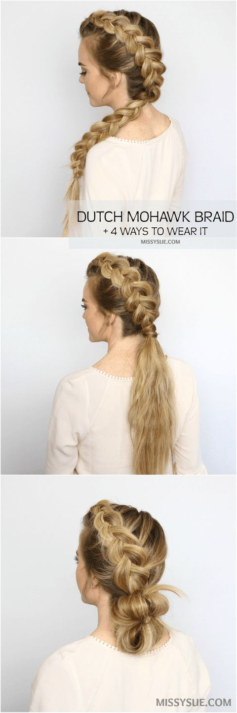 Who's ready for some easy, heatless hairstyles? Summer is officially here and it's hot out there! Put down those hot tools and give your hair a break with this mohawk dutch braid. This style is simple and quick and there are also4 different ways to wear it. You now have a hairstyle for the next four days! Give it a try and let me know what you think! Dutch Mohawk Braid Hairstyles Supplies: Rattail comb 2 clear elastic bands 1 hair band 2-3 bobby pins Medium-hold hairspray Dutch Mohawk Side…