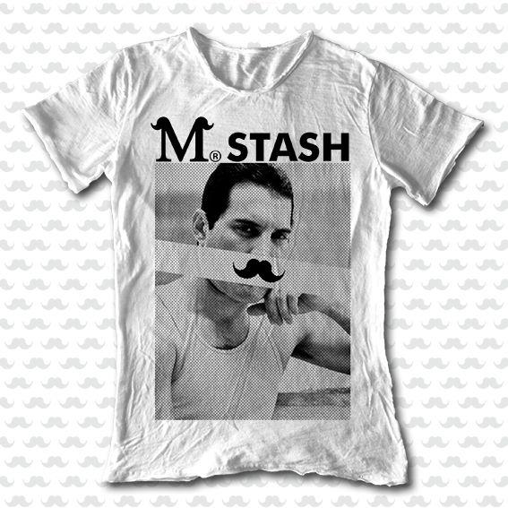 M-STASH SS15 // M01#92a - Freddie // Mr. Stash series // 100% cotton flaming white round neck tshirt // #tee #mustache #fashion #tshirt