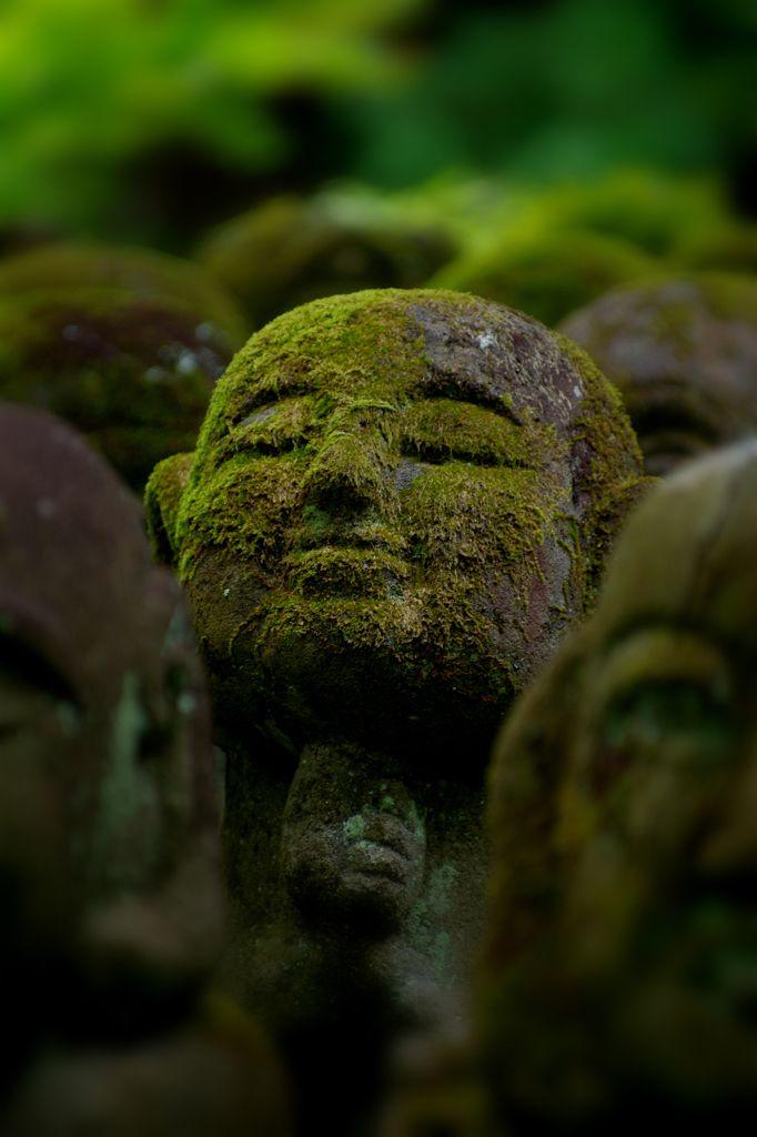Jizo statues at Otagi Nenmutsu-ji temple, Kyoto, Japan