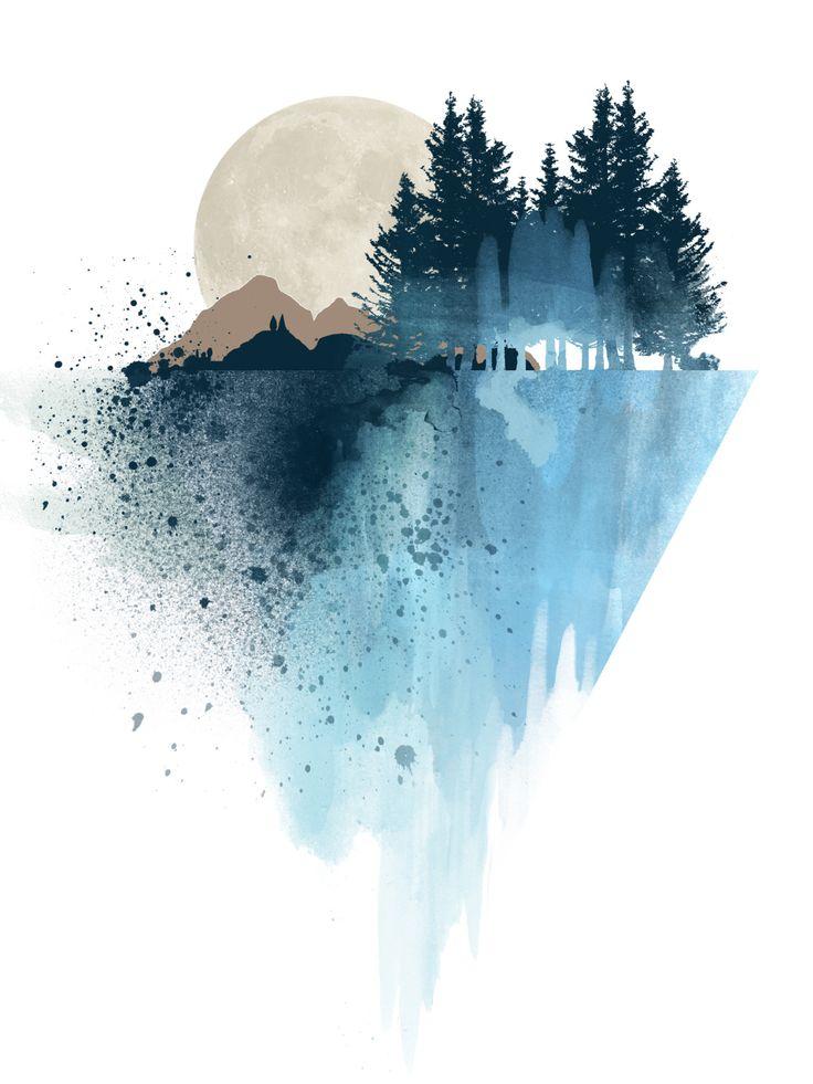 Blue mountain watercolor art print By White Doe Prints: www.etsy.com/… Tumblr:…Kseniia Ryzhova