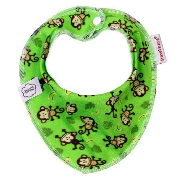 Bavetta in cotone bio - verde con scimmie