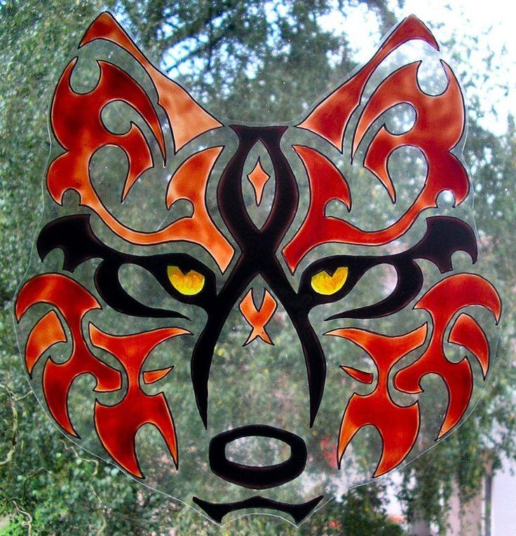 WICOART STICKER WINDOW COLOR CLING FAUX STAINED GLASS WOLF'S EYES LOUP POP ART
