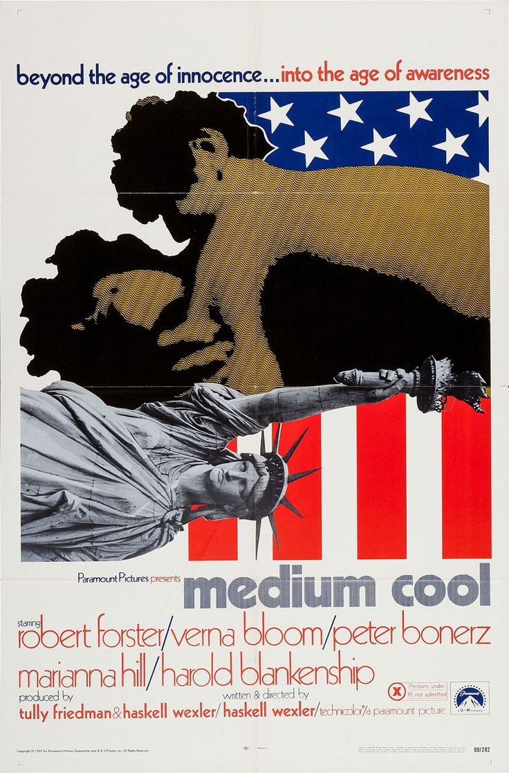 US one sheet for MEDIUM COOL (Haskell Wexler, USA, 1969)  Designer: uncredited  Poster source: Heritage Auctions  R.I.P. Haskell Wexler (1922-2015)