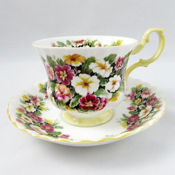 "Royal Albert Fragrance Series ""Primula"" Tea Cup and Saucer, Yellow Trim, Vintage Bone China"