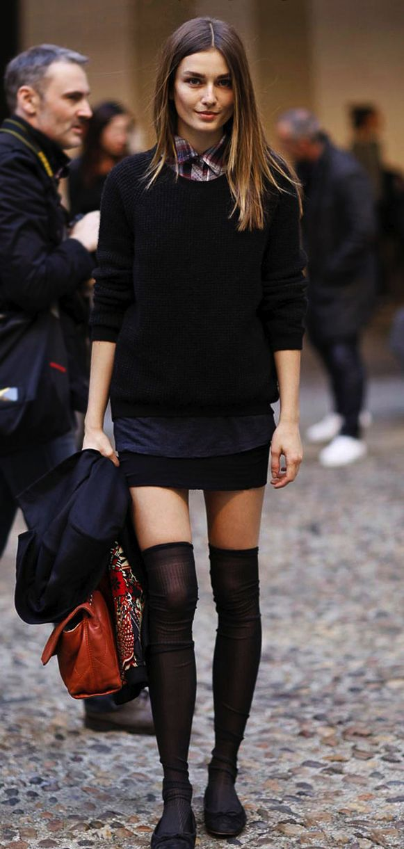 How to rock thigh highs without a hooker vibe: high neck, bulky sweater, flat shoes.