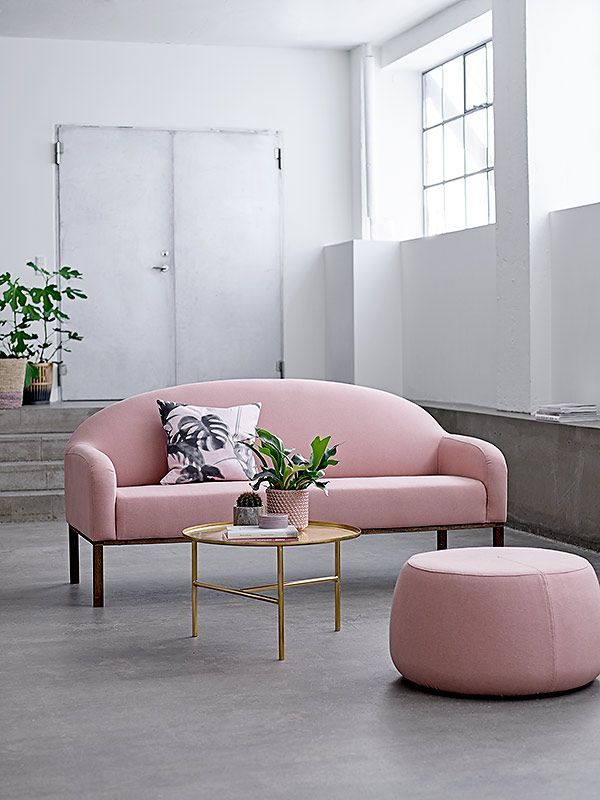 Bloomingville pink sofa and pouf and golden coffee table
