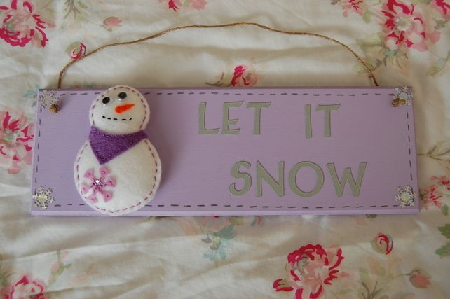 Christmas+Snowman+Hanging+Sign+-+Let+it+Snow+-+3+Colours+to+choose+from £14.99