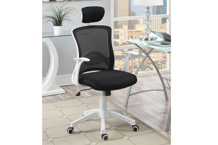 Office ChairF1610 The modern office chair features a mesh back support, cushioned seating and headrest trimmed and framed in white.  Office Chair Sale for $80