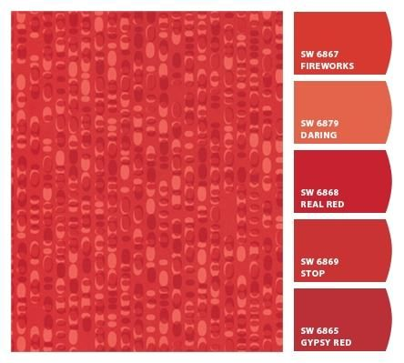 Formica® Laminate Red Ellipse Paired With Sherwin WIlliams Accompanying  Paint Colors!