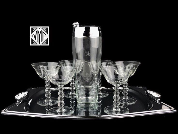 Mid Century Imperial Starlight Cocktail Set, Vintage 1940s 1950s 6  Starburst Crystal Martini Glasses Shaker Chrome Tray Mad Men Barware Gift