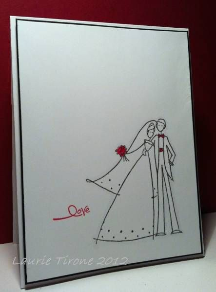 Simple Wedding Card..  I would do michael and ashley's with little cartoon farm animals running around behind them :)
