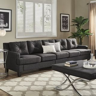Elston Dark Grey Linen Extra Long Sofas by iNSPIRE Q Modern