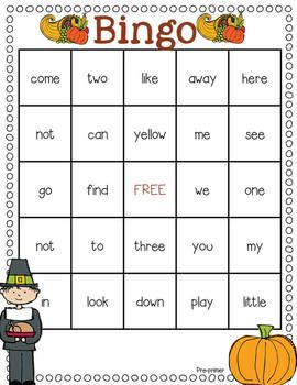 Thanksgiving Sight Word Games- 4 easy prep sight word games that feature words from the pre-primer, primer, and first grade sight word lists!