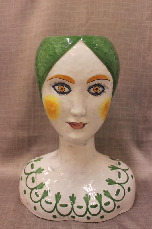 HORCHOW Italy Ceramic Lady Head Bust Sculpture Planter Vase mid-century modern #Horchow